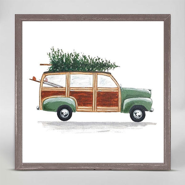 Green Woodie Wagon Mini Framed Canvas