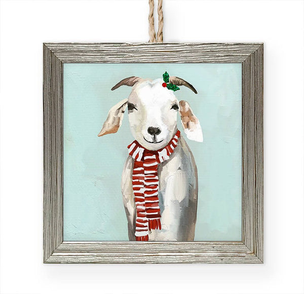 Festive Goat Framed Ornament