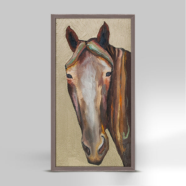 Mini Canvas Horse on Gold
