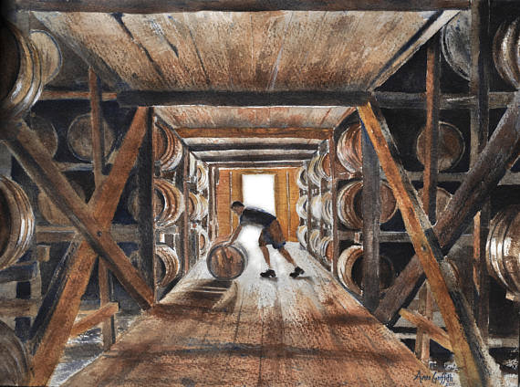 Rickhouse Bourbon Barrel Warehouse Watercolor Print