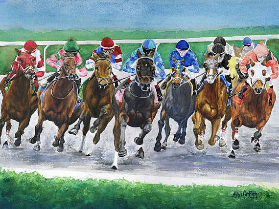 Around The Bend Keeneland Watercolor Print