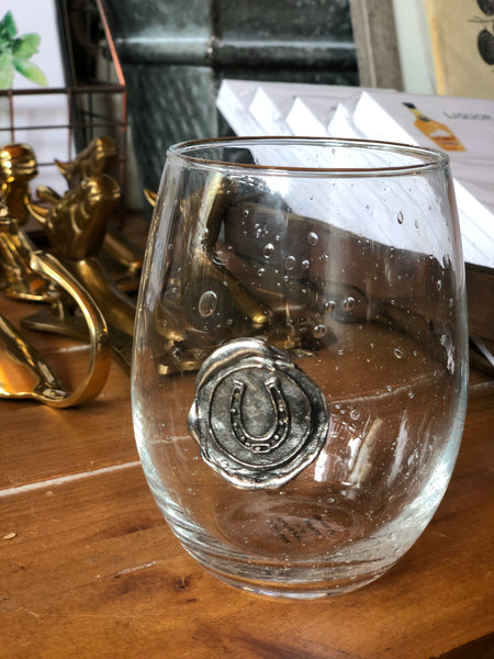 Pewter Stamped Wine Glass - Horseshoe