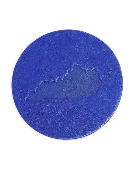 Round Leather Kentucky Coaster