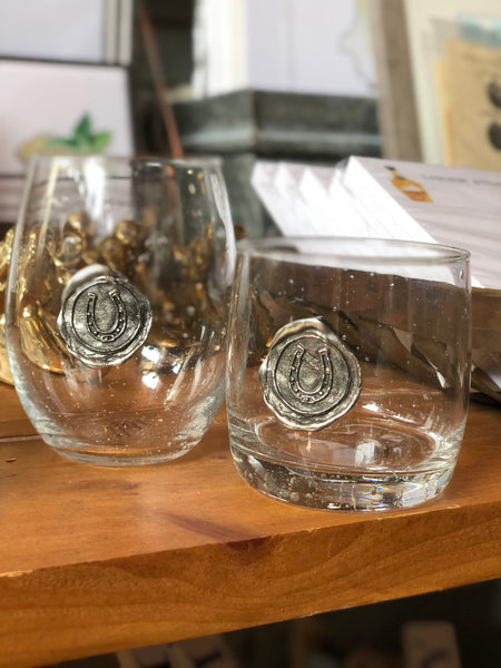 Pewter Stamped Double Old Fashioned - Horseshoe