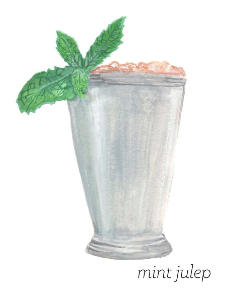 Mint Julep Leaf Watercolor Print