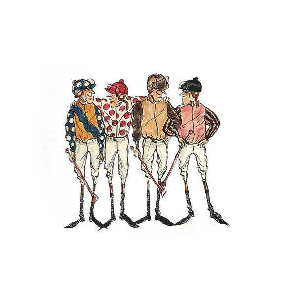 Jockeys Paddock Motif Print - Orange/Navy