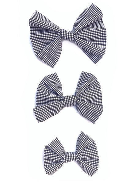 Black Gingham Dog Bow/Bowtie--3 Sizes