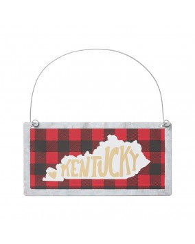 Red Plaid Kentucky Ornament