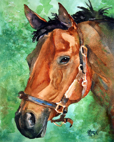 Derby Horse Watercolor Print