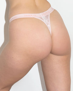 <i>Mrs. Mia</i> <br>Pink Lace Thong Bottom