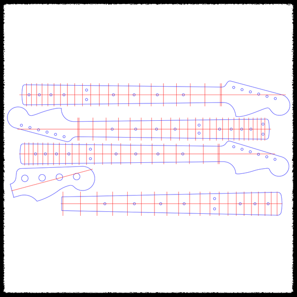 Extended Scale/Bass Guitar Neck Templates