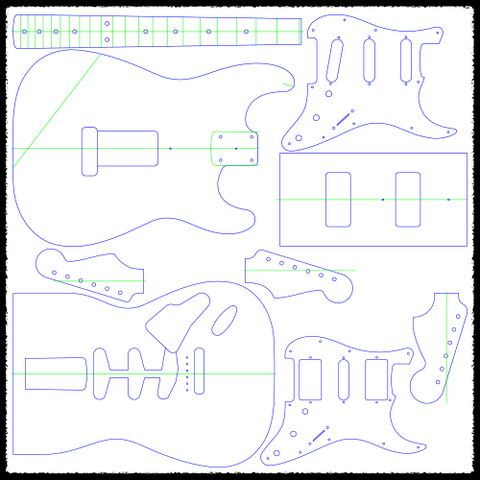 Stratocaster (Vibrato) Guitar Routing Templates