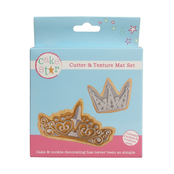 Cake Star - Cutter and Texture Mat Set - Crown