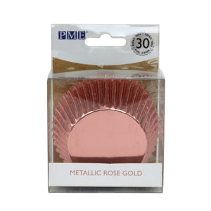 CUPCAKE CASES FOIL LINED - METALLIC ROSE GOLD PK/30