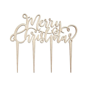 Ginger Ray- Merry Christmas Wooden Cake Topper