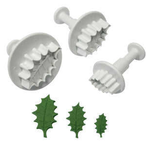 Veined Holly Leaf Plunger Cutter set PME ( Small Set )