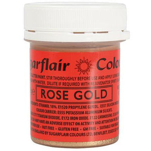 Sugarflair glitter paint rose gold