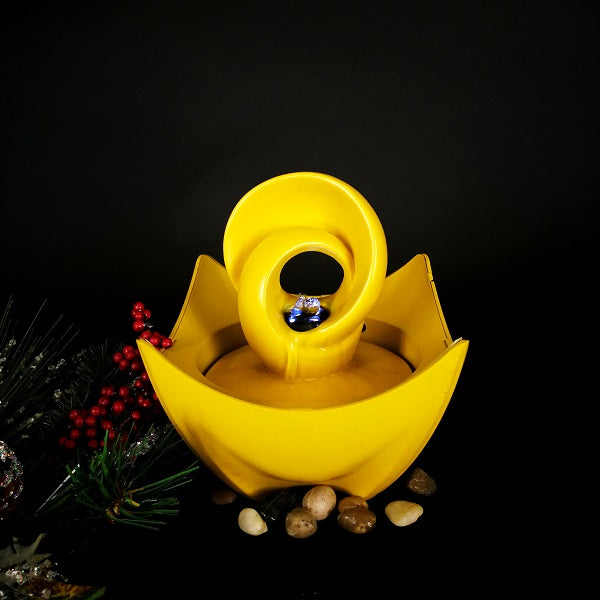 WATER FEATURE-TABLETOP WATER FOUNTAIN ABSTRACT YELLOW - Whatever Gift