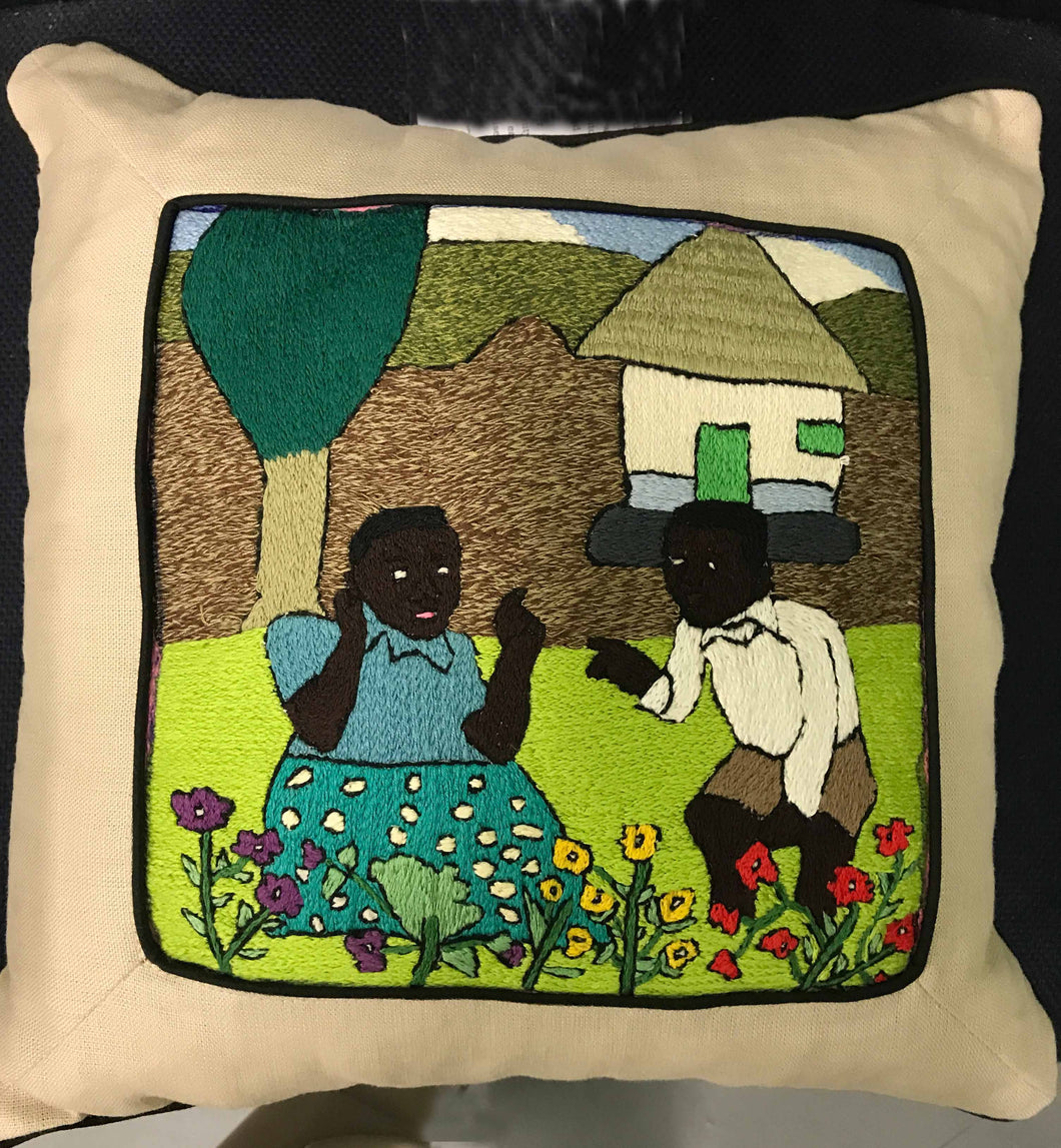 Pillow, man and woman tending the flower garden