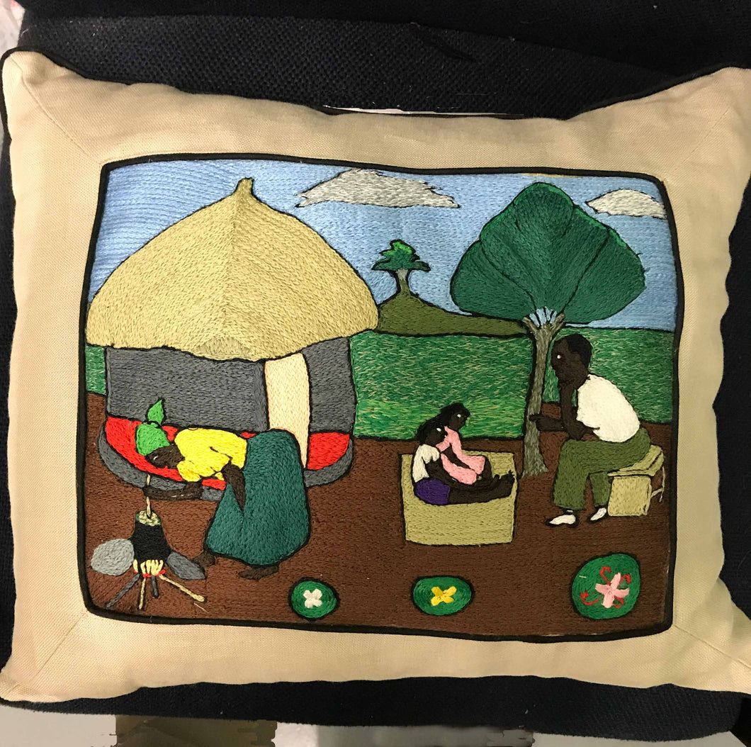 Pillow, woman cooking, father with 2 children