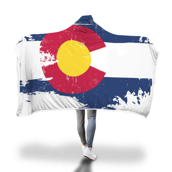 Colorado Destroyed Flag Hooded Blanket - The Fugly Mug Company