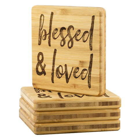 Blessed & Loved Bamboo Coasters - The Fugly Mug Company