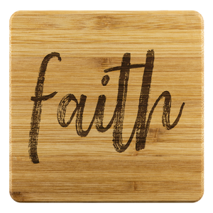 Faith Bamboo Coasters - The Fugly Mug Company