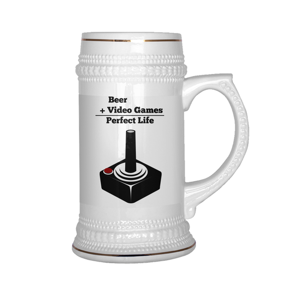 Beer Plus Video Games Stein - The Fugly Mug Company