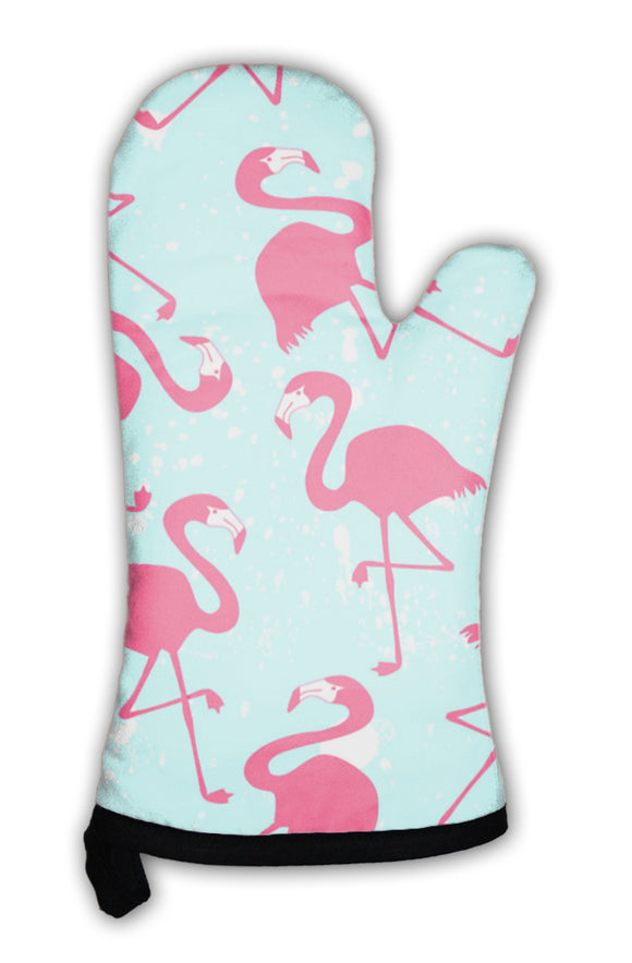 Oven Mitt, Pattern With Pink Flamingos - The Fugly Mug Company