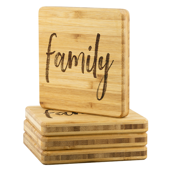 Family Bamboo Coffee Coasters - The Fugly Mug Company