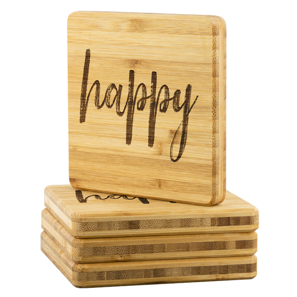 Happy Bamboo Coasters - The Fugly Mug Company