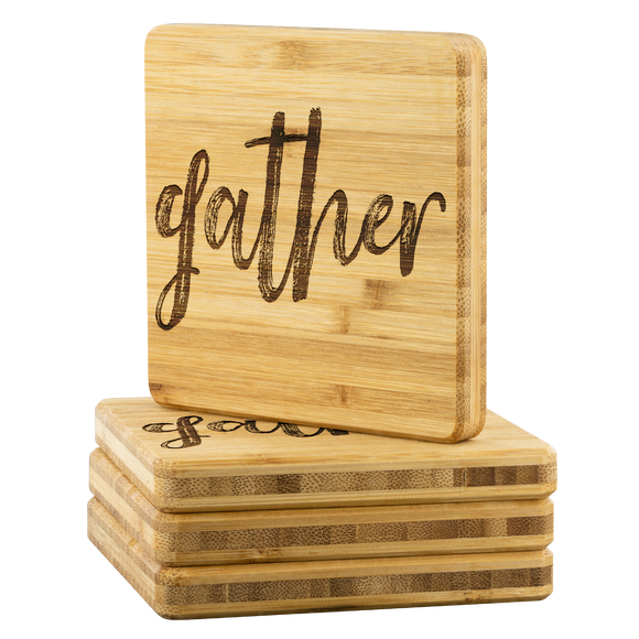 Gather Bamboo Coasters - The Fugly Mug Company
