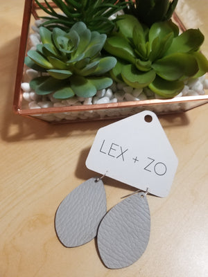 Genuine Leather Earrings - Light Gray