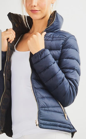 Reversible Navy/Camo Puffer Jacket