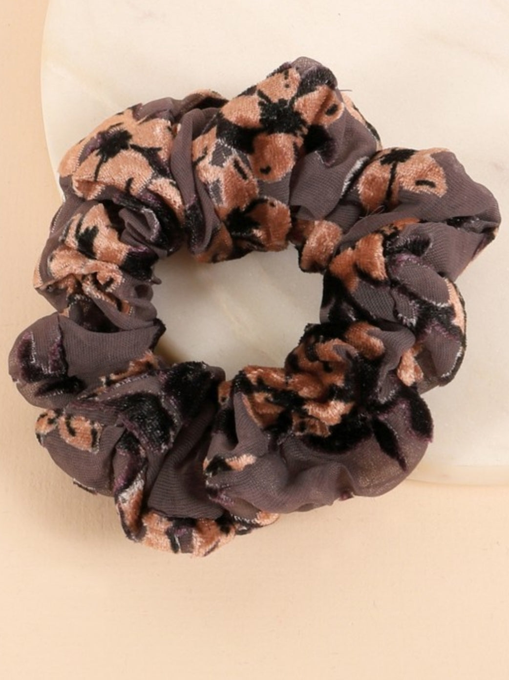 Velvet Floral Burnout Scrunchie