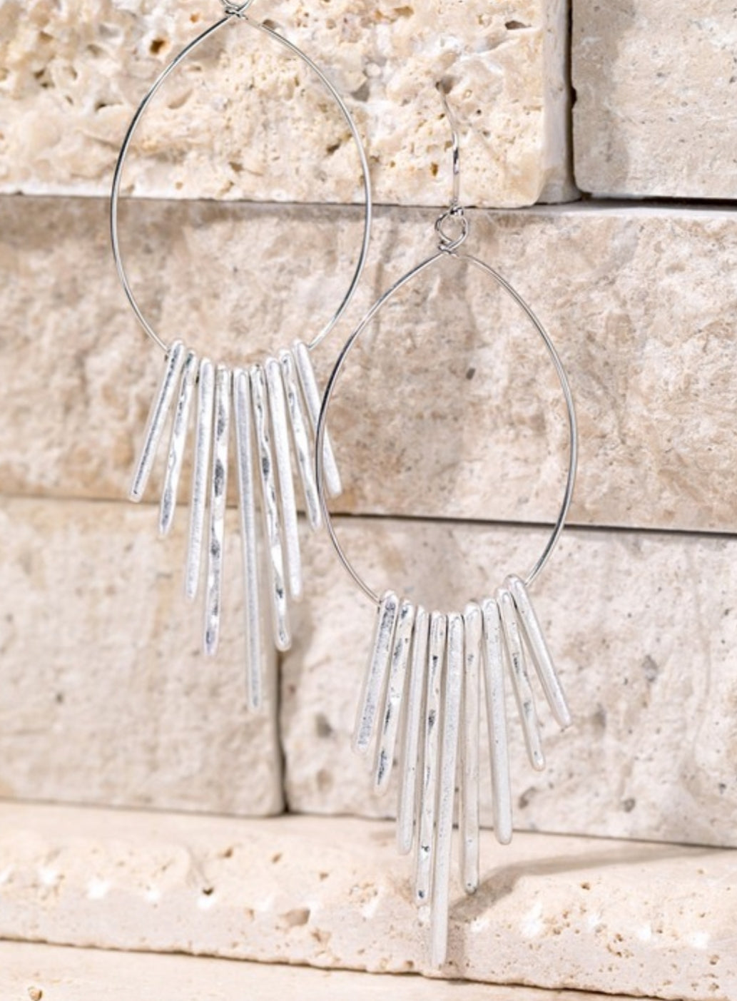 Hammered Metal Fringe Earrings