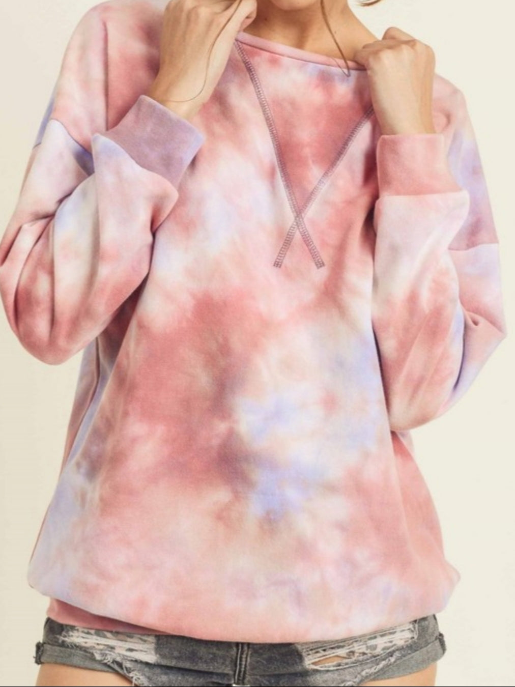 Cotton Candy Tie Dye Pullover - Plum