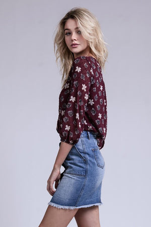 Boho Beauty Front Pleated Floral Top