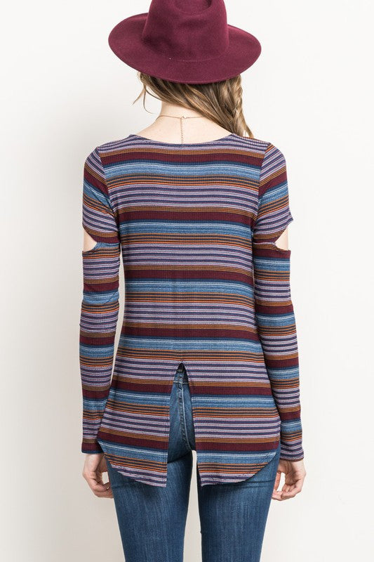 Navy Stripes Cut Out Sleeve Top