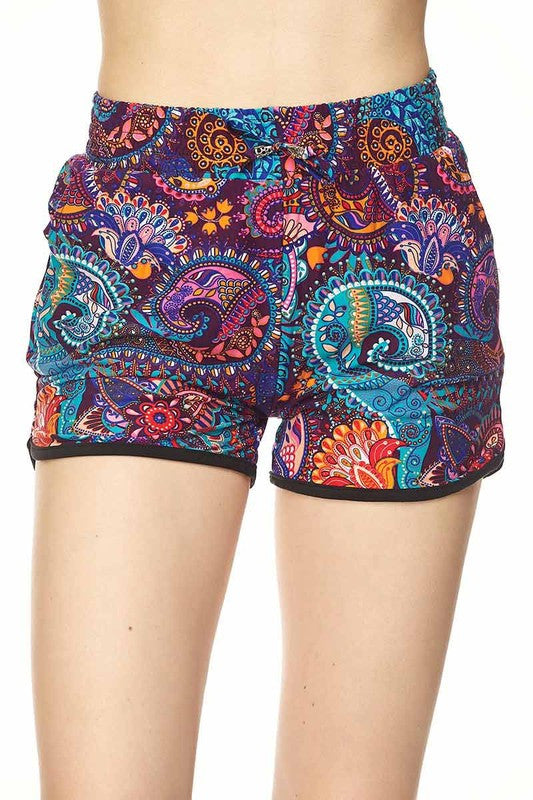 Paisley Floral Drawstring Shorts - Super Soft!