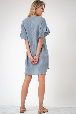 Ruffle Sleeve Cotton Dress