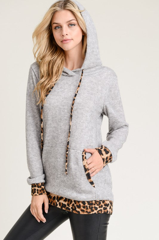Animal Print Hooded Sweater