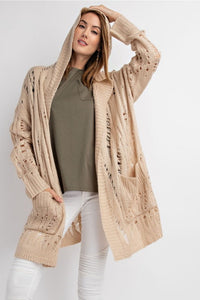 Distressed Pointelle Cardigan