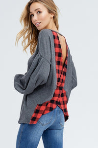 Plaid Cross Back Top