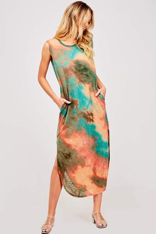 Distressed Tie Dye Tank Dress
