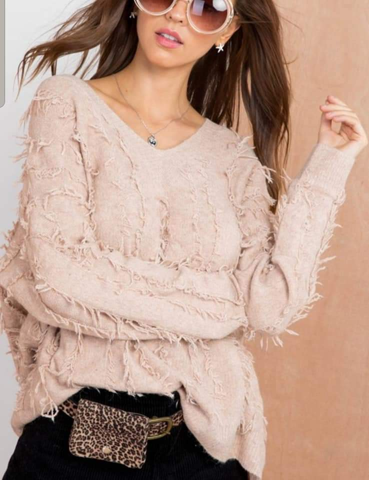 Zola Fringe Sweater - Dusty Peach