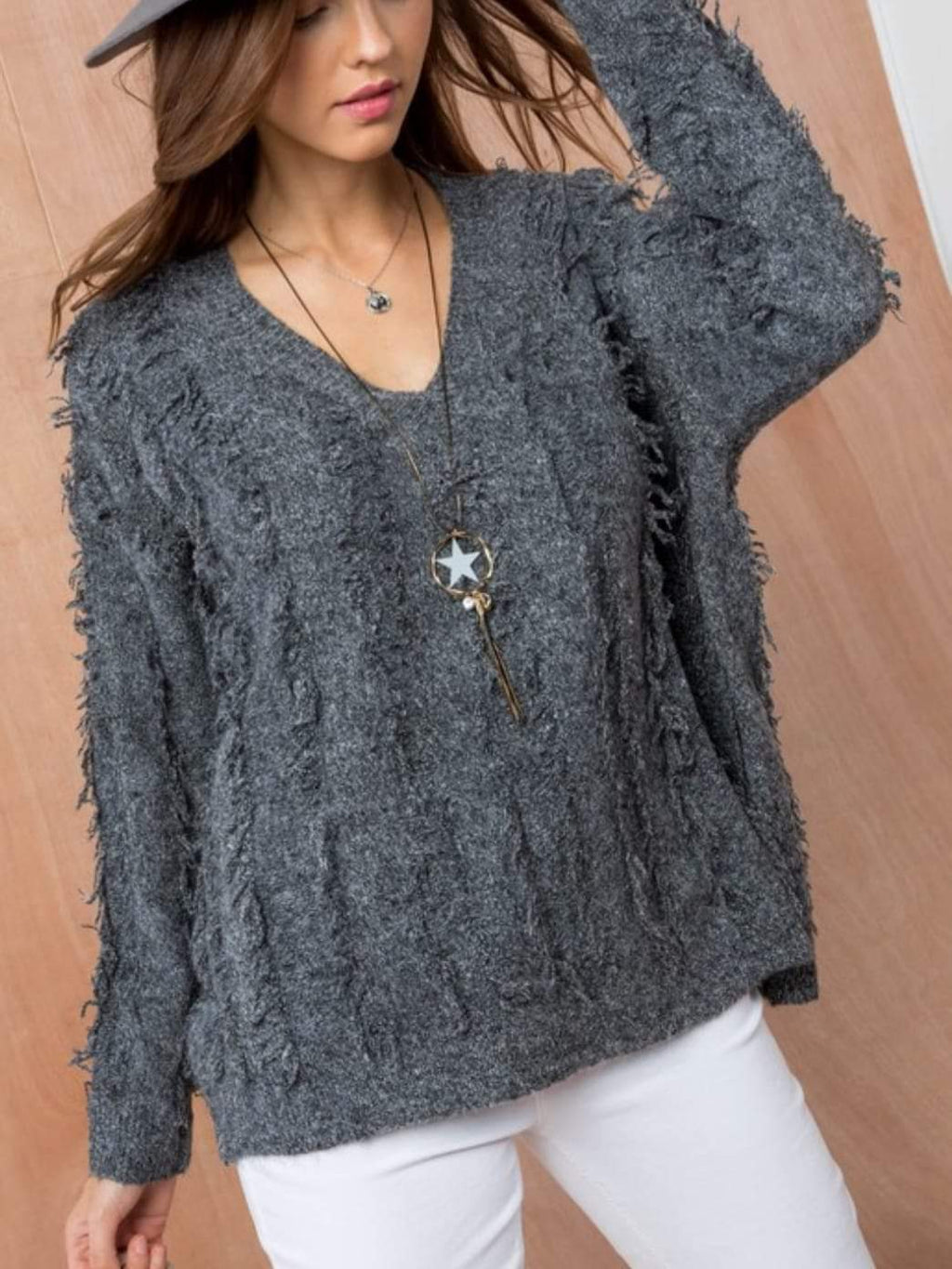 Zola Fringe Sweater - Charcoal