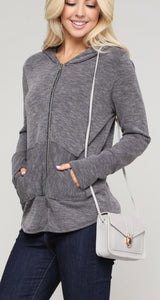 Essential Zip Up Hoodie - Charcoal