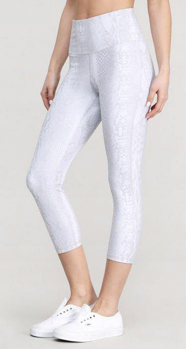 White Snake Capri Leggings