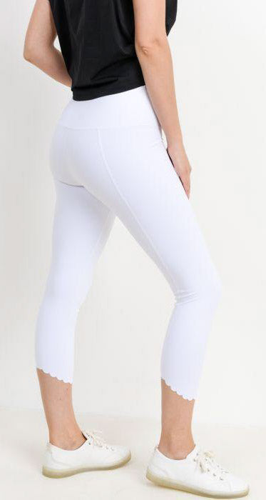 Scallop Hem Leggings - White